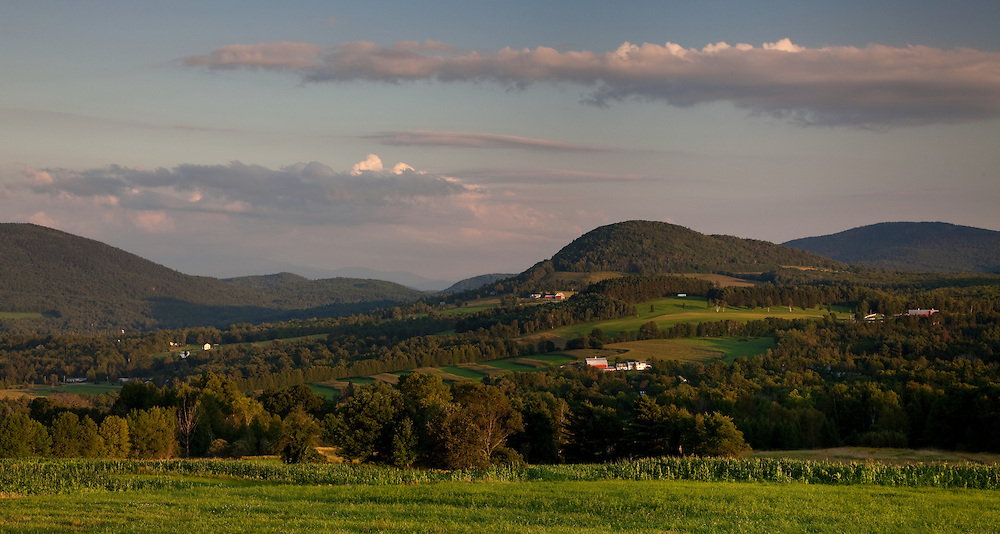 Evening light on the Vermont landscape in Peacham.