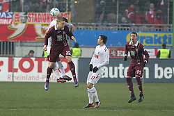 05.02.2012, Fritz Walter Stadium, Kaiserslautern, GER, 1. FBL, 1.FC Kaiserslautern vs 1.FC Koeln, 20. Spieltag, im Bild Nicolai JOERGENSEN (1.FC Kaiserslautern) im Kopfballduell mit GEROMEL (1.FC Koeln), Aktion/ Action // during the German Bundesliga Match between 1.FC Kaiserslautern vs 1.FC Koeln at the Fritz Walter Stadium in Kaiserslautern, Germany, 2012/02/05. EXPA Pictures © 2012, PhotoCredit: EXPA/ Eibner/ Alexander Neis..***** ATTENTION - OUT OF GER *****