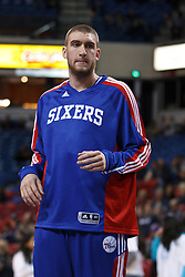 March 18, 2011; Sacramento, CA, USA;  Philadelphia 76ers center Spencer Hawes (00) warms up before the game against the Sacramento Kings at the Power Balance Pavilion. Philadelphia defeated Sacramento 102-80.