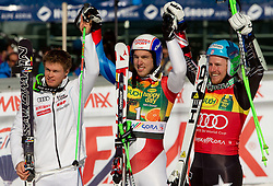 Second placed Alexis Pinturault of France, winner Carlo Janka of Switzerland and third placed Ted Ligety of USA after the Men's Giant Slalom of FIS Ski World Cup Alpine Kranjska Gora, on March 5, 2011 in Vitranc/Podkoren, Kranjska Gora, Slovenia.  (Photo By Vid Ponikvar / Sportida.com)