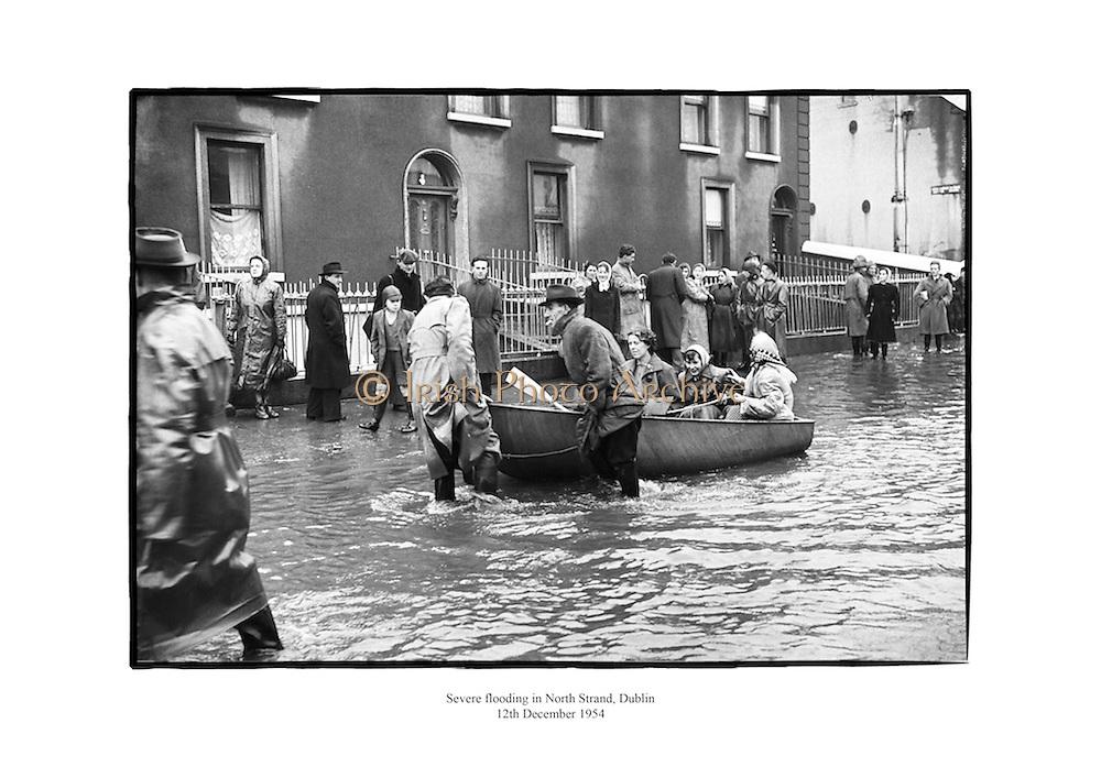 Severe flooding in North Strand, Dublin.<br /> <br /> 12th December 1954<br /> 12/12/1954