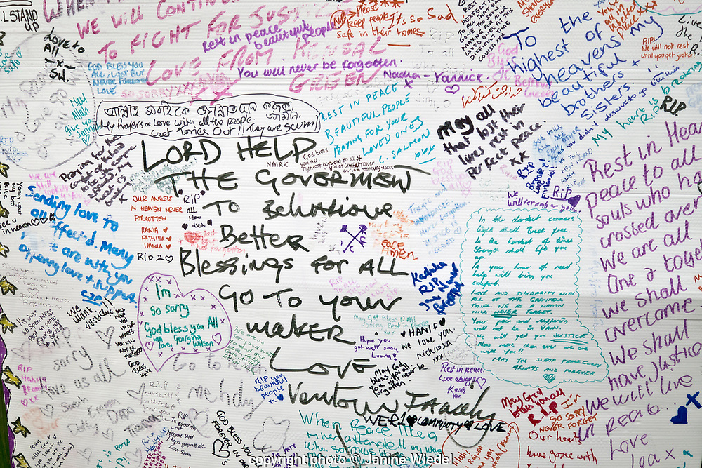 Wall of condolence in the aftermath of the fire that destroyed the 24-story Grenfell Tower in North Kensington, London on 14th June 2017.  The death toll officially at 75 but will no doubt rise to three figures.