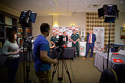 CARDIFF, WALES - Monday, October 3, 2016: head of pubic affairs Ian Gwyn Hughes hosts the draw for the 2nd Round of the Welsh Cup at the Vale Resort. (Pic by David Rawcliffe/Propaganda)