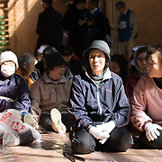 OGA, JAPAN - MARCH 17: Residents of Kitaura move inside of a school gym during a missile evacuation drill on Friday, March 17, 2017, in Hokuyou Elementary School, Oga, Akita Prefecture, Japan. During the drill, around 50 kids were instructed to walk slowly inside of a school gym, as if a missile had hit the the ground nearby. After a loud siren, people are instructed through a loudspeaker to move to safer ground in the school. People participated in the first missile evacuation drill organized by the Akita prefectural office and Oga city to prepare people in the event of a North Korean Missile strike on Japan. Recently, Three of four missiles fired by North Korea may have fallen into Japan's Exclusive Economic Zone and the Japanese government has lodged a strong protest against North Korea. (Photo: Richard Atrero de Guzman/ANADOLU Agency)