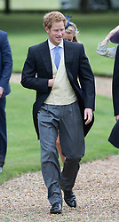Prince Harry attends  the wedding of James Meade and Lady Marsham the daughter of Earl of Romney in Gayton, Norfolk, United Kingdom. Saturday, 14th September 2013. Picture by i-Images