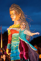 25/10/2015  Macnas parade on the streets of Galway.<br />  &lsquo;The Shadow Lighter&rsquo; featured the new Macnas character of Danu &ndash; a 15 ft high wild woman, the shadow lighter mistress of old stories, magic and medicine. Alongside her walked Danu&rsquo;s spirit animal, The Wolf of Danu, a beautiful, strong and fierce wolf, circling around Danu to protect her.Photo:Andrew Downes, xposure