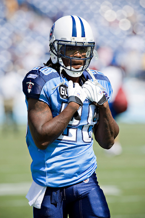 NASHVILLE, TN - SEPTEMBER 7:   Chris Johnson #28 of the Tennessee Titans during warm ups before a game against the Jacksonville Jaguars at LP Field on September 7, 2008 in Nashville, Tennessee.  The Titans defeated the Jaguars 17-10.  (Photo by Wesley Hitt/Getty Images) *** Local Caption *** Chris Johnson