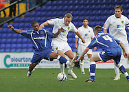 Stockport - Saturday October 31st 2009: Liam Bridcutt of Stockport County in action against Matthew Gill of Norwich City during the Coca Cola League One match at Edgeley Park, Stockport. (Pic by Michael SedgwickFocus Images)
