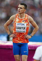 London, August 13 2017 . Ilya Ivanyuk, Authorised Neutral Athlete, in the men's high jump final on day ten of the IAAF London 2017 world Championships at the London Stadium. © Paul Davey.