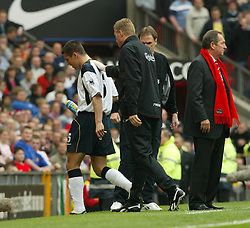 MANCHESTER, ENGLAND - Saturday, April 5, 2003: Liverpool's Milan Baros is substituted by manager Ge?rard Houllier against Manchester United during the Premiership match at Old Trafford. (Pic by David Rawcliffe/Propaganda)