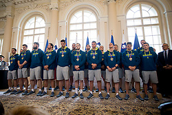 "Players of Slovenia during award ceremony ""Zlati red za zasluge"" for Basketball association of Slovenia on the day of statehood in the presidential palace, on June 25, 2018 in Ljubljana, Slovenia. Photo by Urban Urbanc / Sportida"