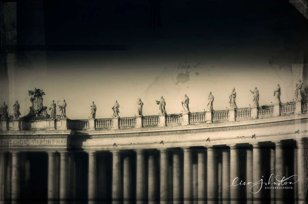 Columns and facade of St. Peter's Basilica in early morning light.