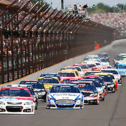 28 July 2013: Pole Sitter NASCAR Sprint Car Driver Ryan Newman (39) jumps out in front of the pack during the 20th Annual Crown Royal presents the Samuel Deeds 400 at The Brickyard at Indianapolis Motor Speedway in Indianapolis, IN