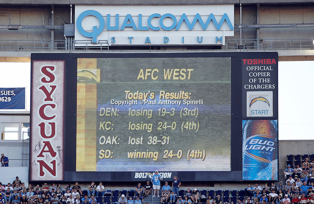 The Qualcomm Stadium scoreboard shows the standings for the AFC West Division during the San Diego Chargers NFL week 14 football game against the Kansas City Chiefs on Sunday, December 12, 2010 in San Diego, California. The Chargers won the game 31-0. (©Paul Anthony Spinelli)
