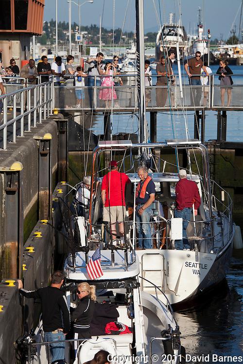 Boats going through Hiram M Chittenden Locks, Seattle, Washington, USA