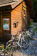 Bicycles and park kiosk, Risnjak National Park, Croatia