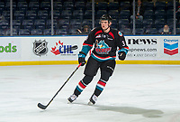 KELOWNA, CANADA - OCTOBER 23: Dalton Gally #3 of the Kelowna Rockets warms up against the Swift Current Broncos  on October 23, 2018 at Prospera Place in Kelowna, British Columbia, Canada.  (Photo by Marissa Baecker/Shoot the Breeze)  *** Local Caption ***