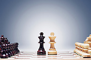 Chess game two kings in centre of board other pieces lined up