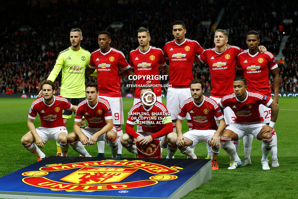 MANCHESTER, ENGLAND - SEPTEMBER 30: Manchester United line up before the Champions League match between Manchester United and Vfl Wolfsburg at Old Trafford Stadium on September 30, 2015 in Manchester, United Kingdom. (Photo by Mitchell Gunn/ESPA-IMAGES) ***Local Caption***