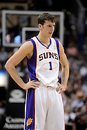 Apr 5, 2013; Phoenix, AZ, USA; Phoenix Suns guard Goran Dragic (1) stands on the court during the game against the Golden State Warriors in the first half at US Airways Center. The Warriors defeated the Suns 111-107. Mandatory Credit: Jennifer Stewart-USA TODAY Sports