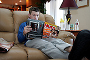 Ricky Hatton works out for Nuts Magazine leading upto to his fight with Floyd Mayweather. 5th December 2007, Las Vegas, Nevada...Ricky Hatton reads Nuts magazine before heading off for his morning run.