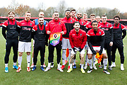 Salford City team photo before the EFL Sky Bet League 2 match between Salford City and Macclesfield Town at the Peninsula Stadium, Salford, United Kingdom on 23 November 2019.