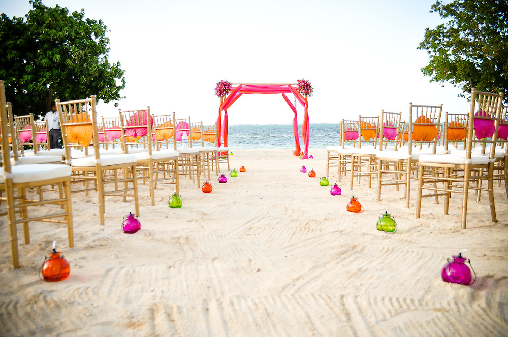 Lulu and Kirkton's wedding ceremony setup at the Ibero Star resort, Montego Bay, Jamaica