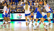 UF Volleyball celebrates  after taking the third set to brake the tie during Sunday's game against ranked rival FSU. (photo by Samuel Navarro.)