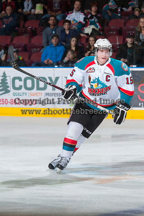 KELOWNA, CANADA - JANUARY 26: Colton Sissons #15  of the Kelowna Rockets skates on the ice against the Prince Albert Raiders at the Kelowna Rockets on January 26, 2013 at Prospera Place in Kelowna, British Columbia, Canada (Photo by Marissa Baecker/Shoot the Breeze) *** Local Caption ***