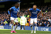 Everton forward Richarlison (7) celebrates his goal 1-0  with Everton forward Moise Kean (27) during the Premier League match between Everton and Wolverhampton Wanderers at Goodison Park, Liverpool, England on 1 September 2019.