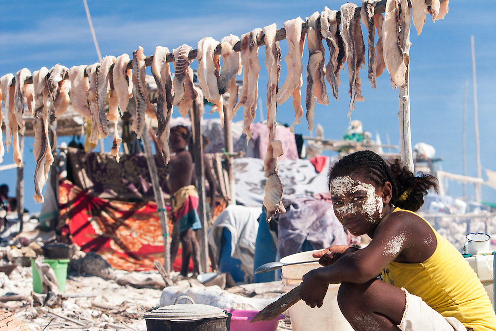A migrant fisherwoman cooking in a fishing camp in the Barren Isles in the Mozambique Channel, Madagascar.  Behind her, salted shark meat is drying. Many shark fisheries elsewhere in the world practise finning - where the shark's carcass is thrown overboard and only its fins kept.  In contrast, traditional fishermen in Madagascar waste no part of the shark: the meat is eaten or salted for later sale; oil is extracted from the liver for cooking or traditional medicine; the jaws sold to tourists; and fishermen sometimes use the skin of some species as sandpaper. Dried and salted shark fins, as well as sea cucumbers, are amongst the few products isolated traditional fishing communities can sell for meaningful amounts of cash.