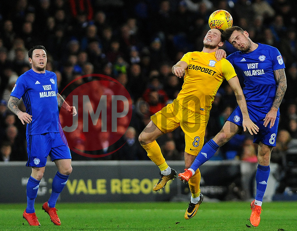 Alan Browne of Preston North End and Joe Ralls of Cardiff City head the highball - Mandatory by-line: Nizaam Jones/JMP - 29/12/2017 -  FOOTBALL - Cardiff City Stadium - Cardiff, Wales -  Cardiff City v Preston North End - Sky Bet Championship