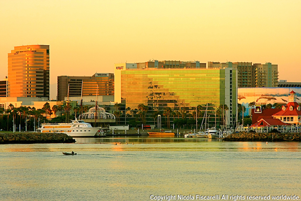 A late afternoon view of the Long Beach Waterfront in California,from Catalina Express terminal.