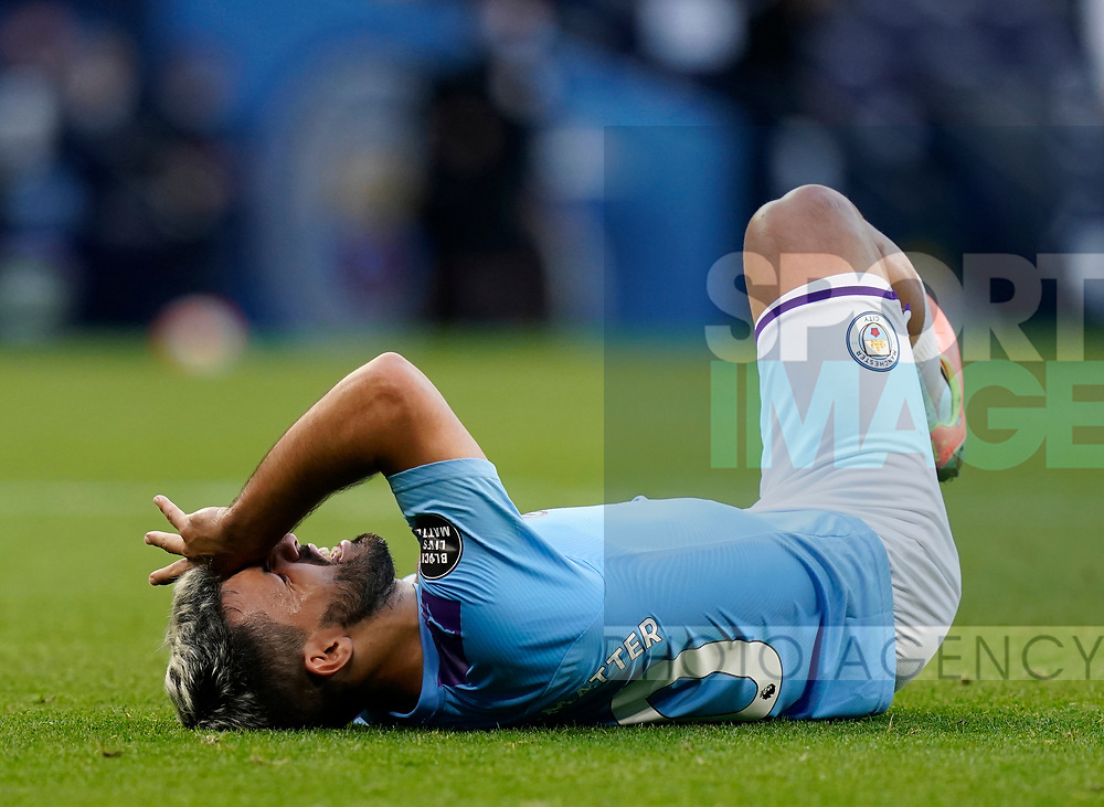 Sergio Aguero of Manchester City injured during the Premier League match at the Etihad Stadium, Manchester. Picture date: 22nd February 2020. Picture credit should read: Andrew Yates/Sportimage