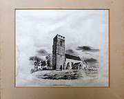 Nineteenth century 1833 engraving print of Bedingfield church, Suffolk, England, UK