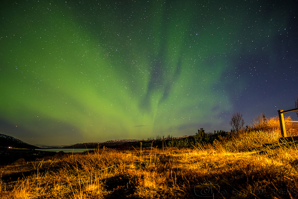Northern lights in Heydalur right above our cosy lodge