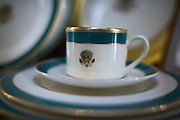 The Pickard China official White House fine china set in Antioch Thursday morning. Pickard China recently made a full set of china for the White House which was used during the recent state dinner with Japanese leaders. The 320 person set included 12 total pieces each. The cost was $362,000.<br />