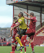 Ryan Blake (Chesham) tries to win the header during the The FA Cup match between Bradford City and Chesham FC at the Coral Windows Stadium, Bradford, England on 6 December 2015. Photo by Mark P Doherty.
