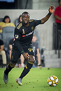 LAFC forward Adama Diomande (99) moves the ball during an MLS soccer match against the Minnesota United. Minnesota United defeated the LAFC 2-0 on Sunday Sept. 1 2019, in Los Angeles. (Ed Ruvalcaba/Image of Sport)