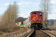 A Canadian National Railway cargo train on the tracks in Fort Langley, British Columbia, Canada