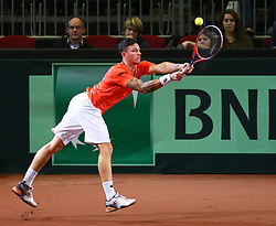03.02.2018, VAZ, St. Pölten, AUT, Davis Cup, Österreich vs Weissrussland, Europa-Afrika-Zone, 1. Runde, im Bild Dennis Novak (AUT) am Samstag, 03. Februar 2018, waehrend seines Spiels gegen Yaraslav Shyla (BLR) // Dennis Novak of Austria during the Davis Cup - Europe - African zone - 1st Round between Austria and Belarus at the VAZ in St. Pölten, Austria on 2018/02/03. EXPA Pictures © 2018, PhotoCredit: EXPA/ Thomas Haumer