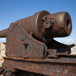 Rusting coast artillery guns guarding the entrance to Havana bay in Morro Castle, Cuba. The guns are early RBLs (Rifled breech loading) weapons dating from the 1870s