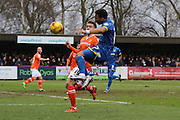 Andy Barcham of AFC Wimbledon crosses the ball for Lyle Taylor of AFC Wimbledon to score during the Sky Bet League 2 match between AFC Wimbledon and Luton Town at the Cherry Red Records Stadium, Kingston, England on 13 February 2016. Photo by Stuart Butcher.