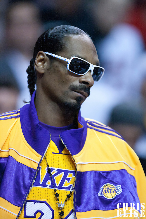 10 March 2011: Snoop Dogg is seen during the Miami Heat 94-88 victory over the Los Angeles Lakers at the AmericanAirlines Arena, Miami, Florida, USA.
