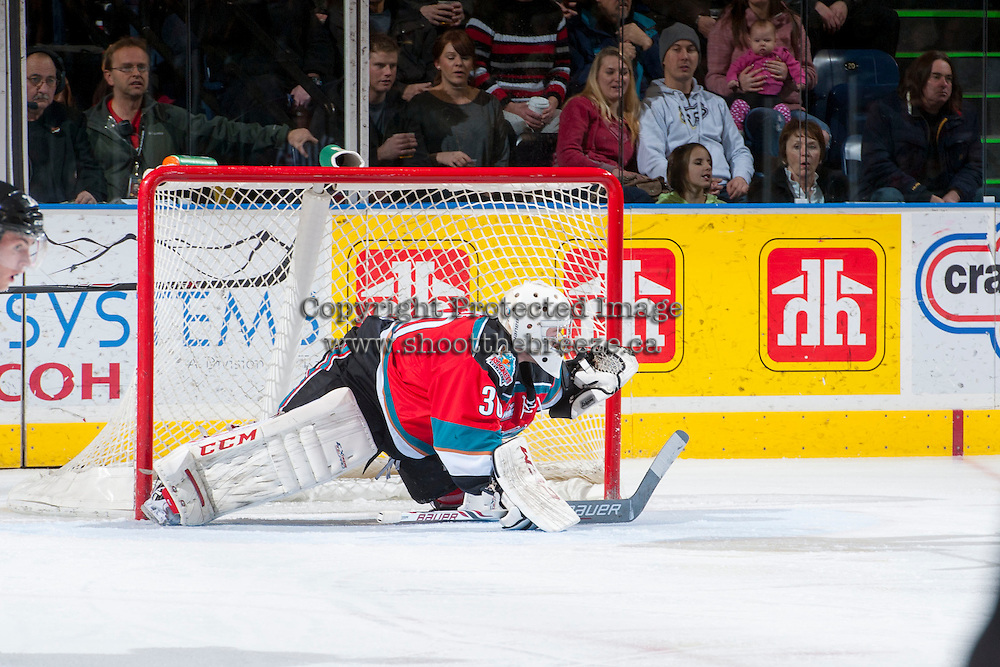 KELOWNA, CANADA - DECEMBER 6: Jordon Cooke #30 of the Kelowna Rockets defends the net against the Everett Silvertips on December 6, 2013 at Prospera Place in Kelowna, British Columbia, Canada.   (Photo by Marissa Baecker/Shoot the Breeze)  ***  Local Caption  ***