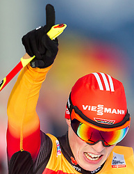 18.01.2014, Casino Arena, Seefeld, AUT, FIS Weltcup Nordische Kombination, Seefeld Triple, Langlauf, im Bild Jubel von Eric Frenzel (GER) // Eric Frenzel (GER)c elebrate after winnning the Cross Country at FIS Nordic Combined World Cup Triple at the Casino Arena in Seefeld, Austria on 2014/01/18. EXPA Pictures © 2014, PhotoCredit: EXPA/ JFK