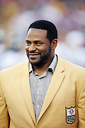 Former Pittsburgh Steelers running back Jerome Bettis is introduced as a newly enshrined member of the NFL Pro Football Hall of Fame before the 2015 NFL Pro Football Hall of Fame preseason football game against the Minnesota Vikings on Sunday, Aug. 9, 2015 in Canton, Ohio. The Vikings won the game 14-3. (©Paul Anthony Spinelli)
