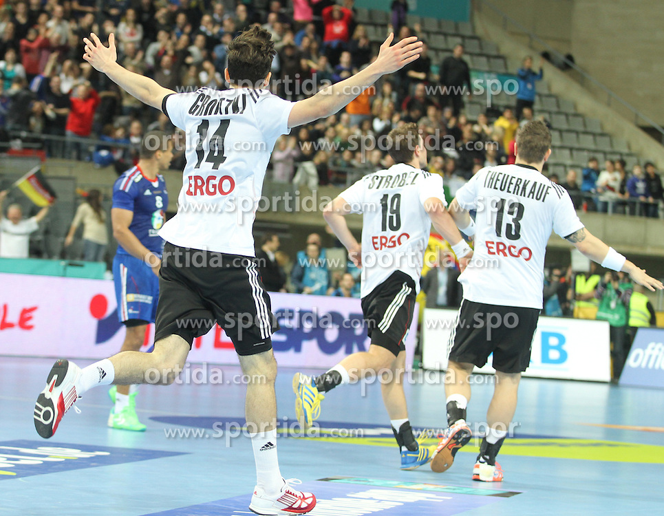 18.01.2013 Barcelona, Spain. IHF men's world championship, prelimanary round. Picture show Patrick Groetzki  in action during game between France vs Germany at Palau St Jordi / Sportida Photo Agency