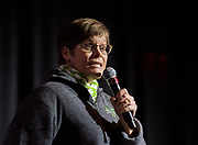 Julie Suhr, a professor of psychology and director of clinical training in the College of Arts and Sciences, performs 'Spalking' which is spelling while talking during the talent competition.
