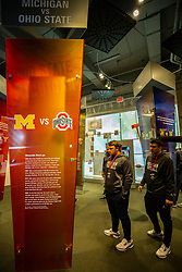 Michigan players and coaches visit the College Football Hall of Fame on Wednesday, December 26, 2018 in Atlanta. Michigan will face Florida in the 2018 Peach Bowl on December 29, 2018. (Jason Parkhurst via Abell Images for the Chick-fil-A Peach Bowl)